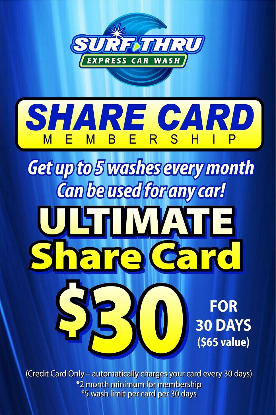 Car Wash Monthly Plans | Car Wash Share Card | Surf Thru Express Car Wash